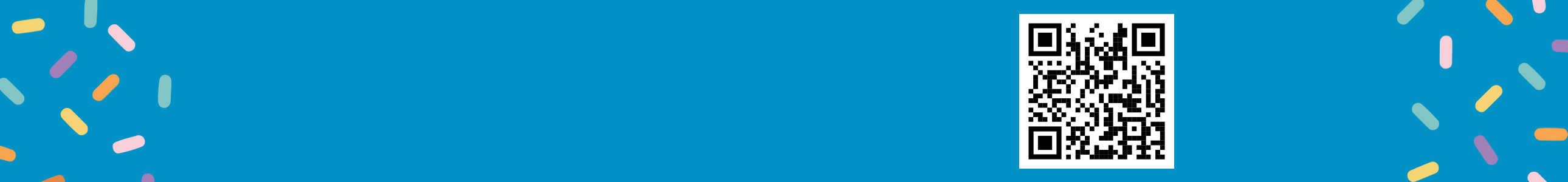 Aqua banner with sprinkles.