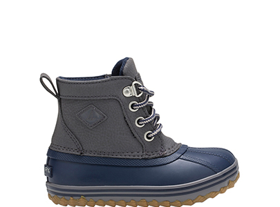 Grey and blue kids' boot.