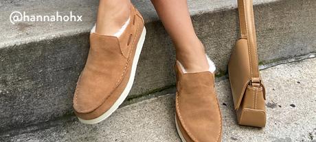 Tan slip-on shoes.