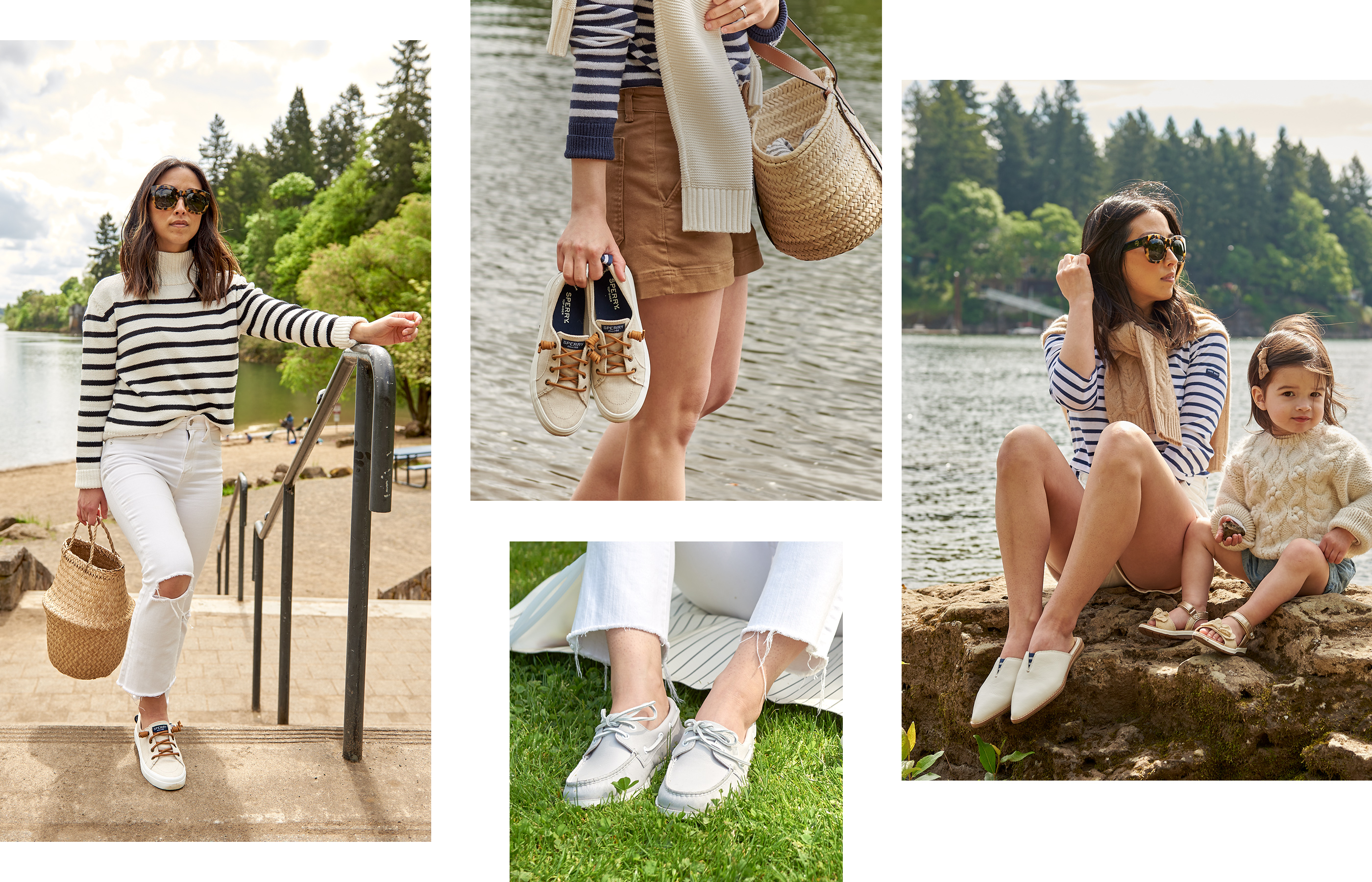 A gallery of Sperry Ambassador Crystalin Da Silva, wearing several Sperry shoe styles.