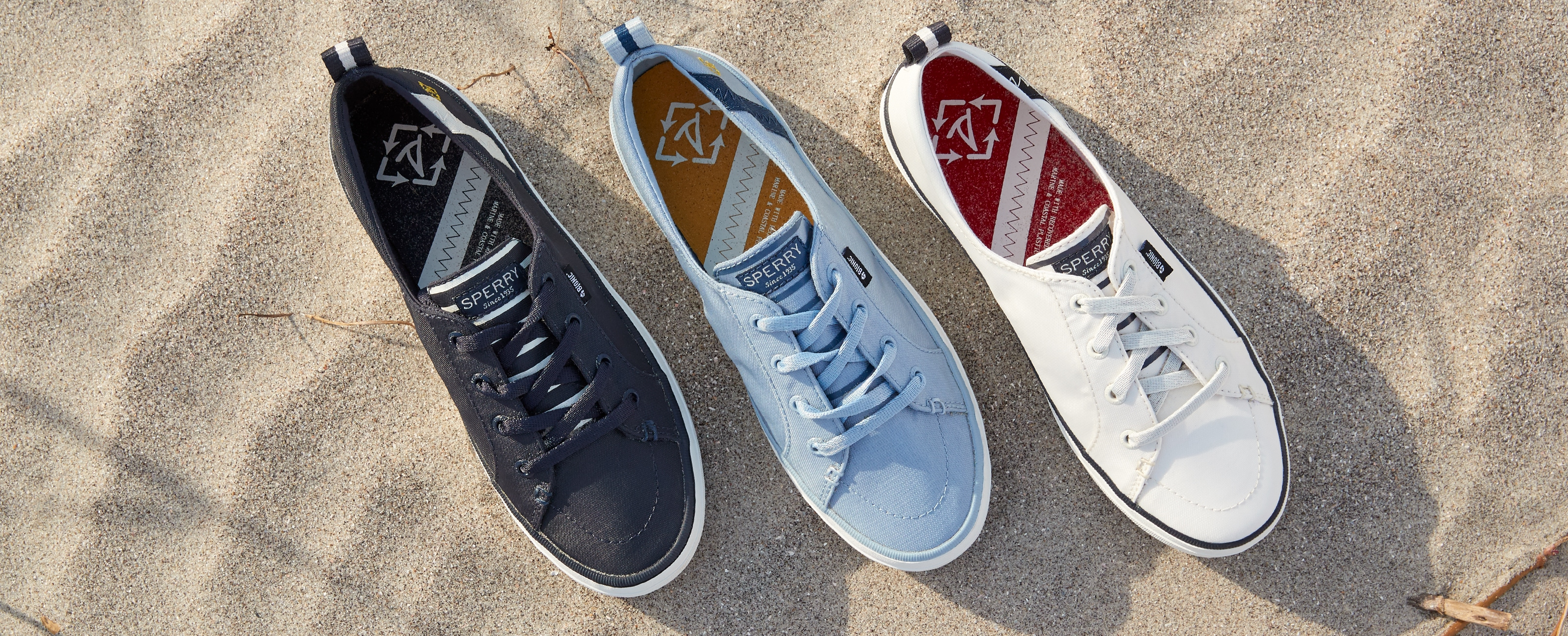 Top view of Women's Crest Vibe BIONIC sneaker in 3 colors.