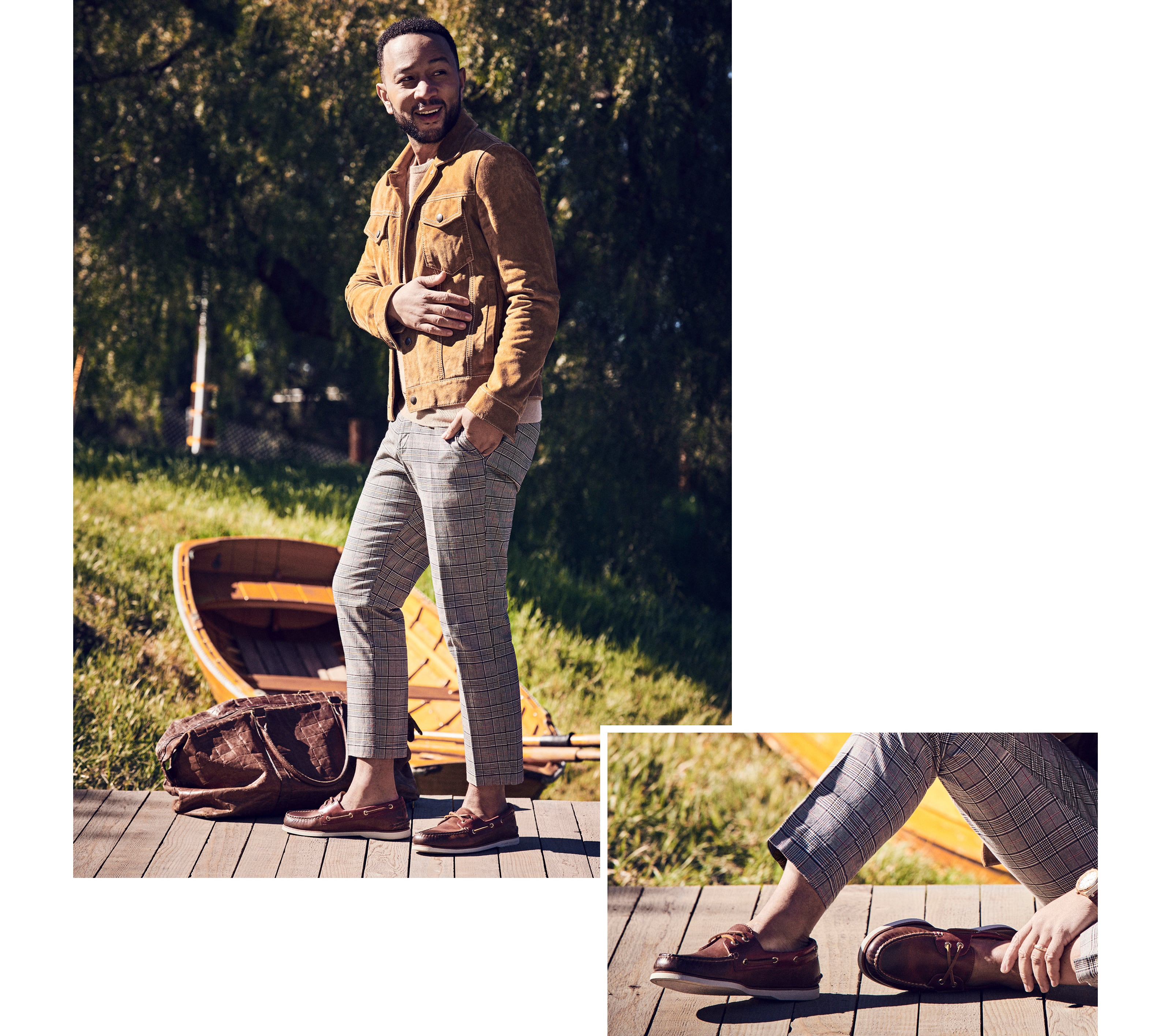 John Legend on a dock wearing Sperry Gold Cup Authentic Original Boat Shoes.