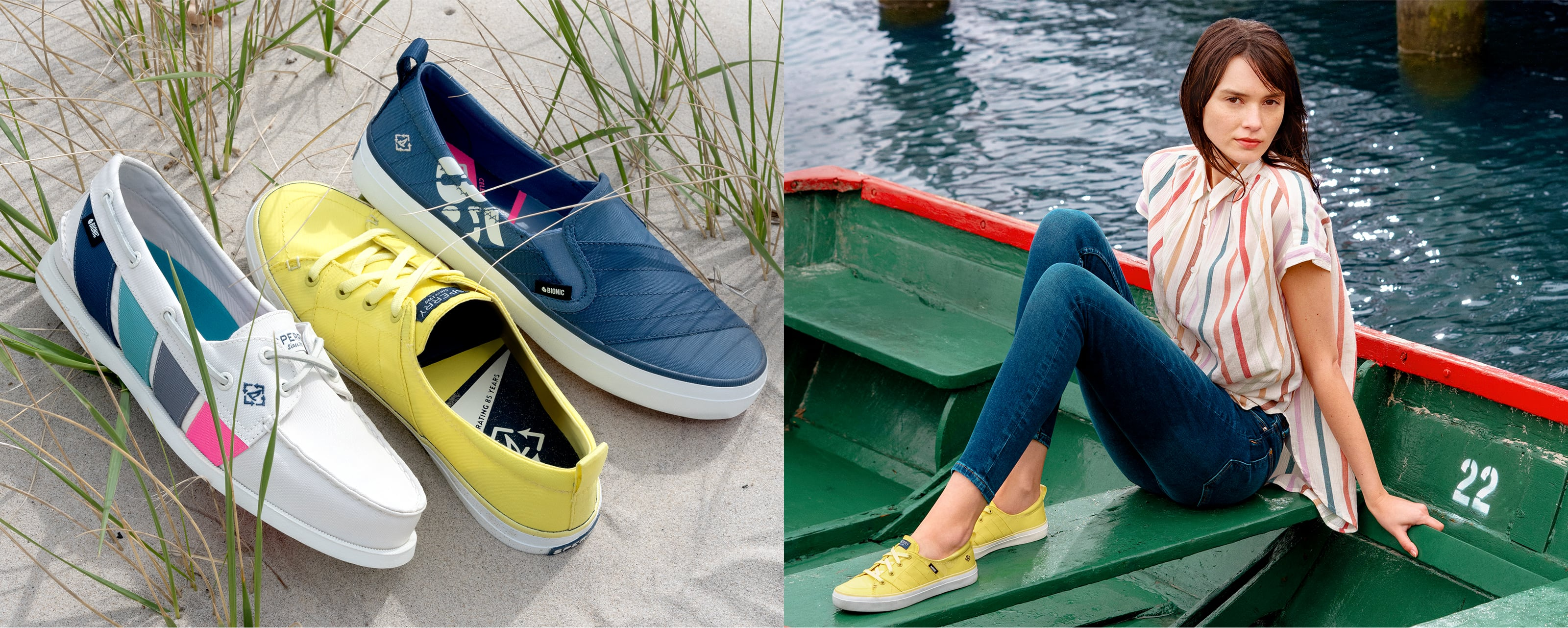 3 pair of women's Sperry Bionic sneakers sitting on sand, and a woman wearing Sperry Bionic sneakers in a row boat.