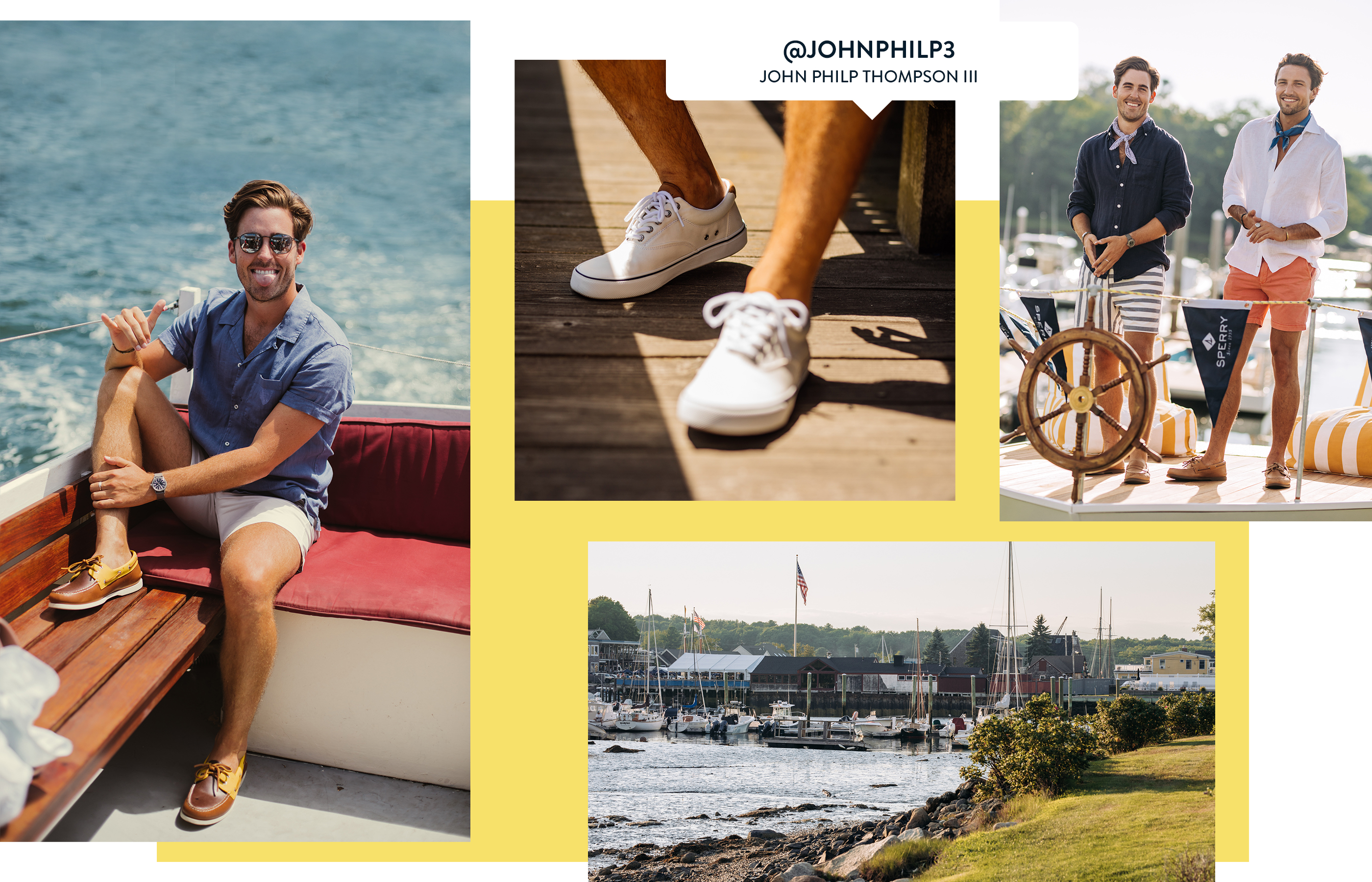 A gallery of Sperry Ambassador John Philp Thompson, wearing several Sperry shoe styles.