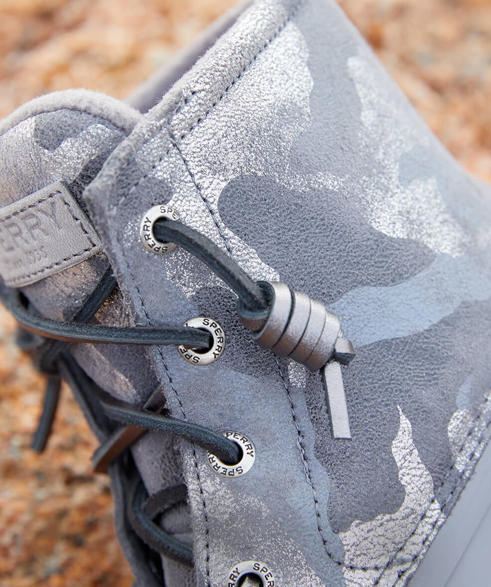 Close-up of grey camo print boot.