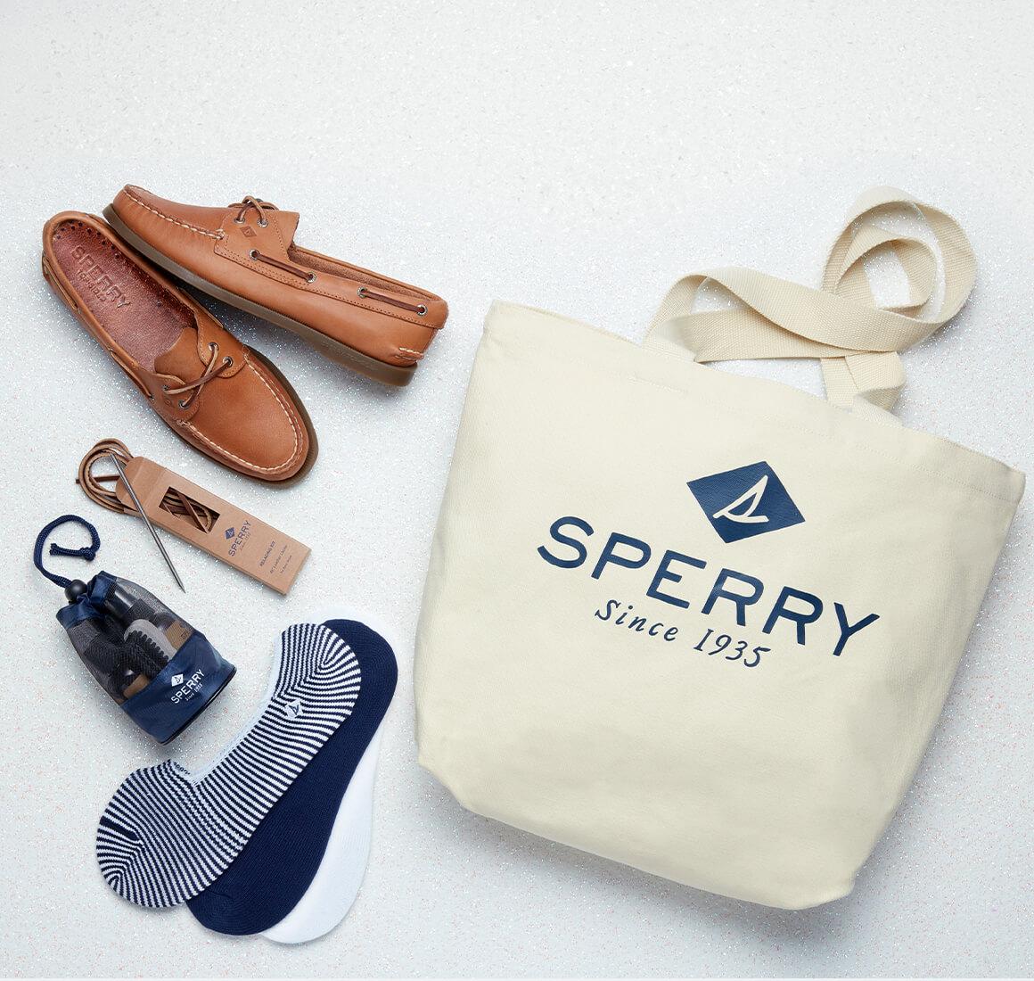 Boat shoes, shoe lace kit, shoe kit, socks, and tote bag.