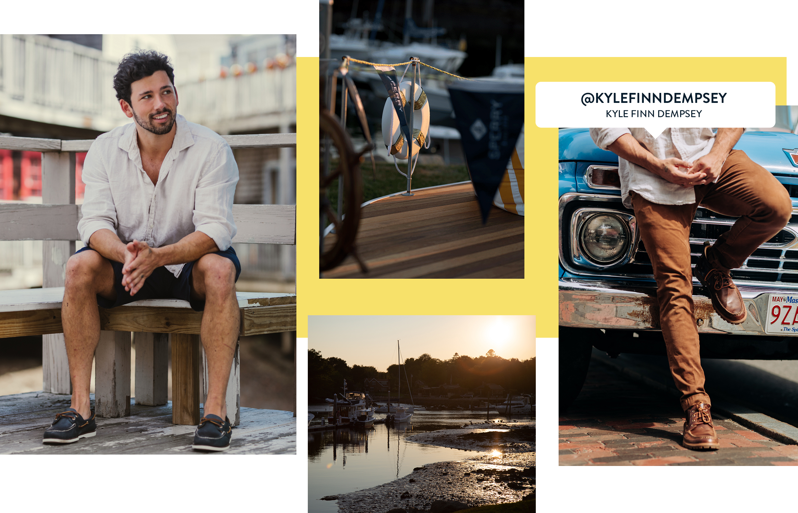 A gallery of Sperry Ambassador Kyle Finn Dempsey, wearing several Sperry shoe styles.