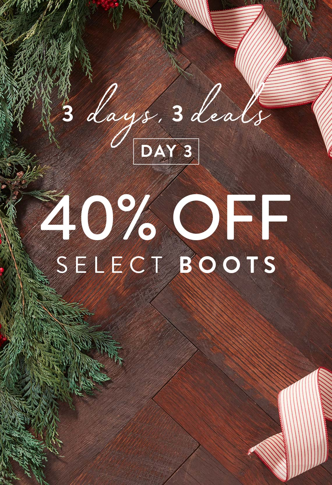3 days, 3 deals 40% Off Select Boots.