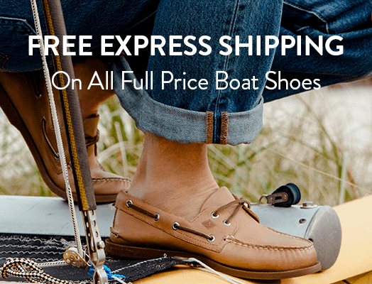 Free Express Shipping on all full price boat shoes.