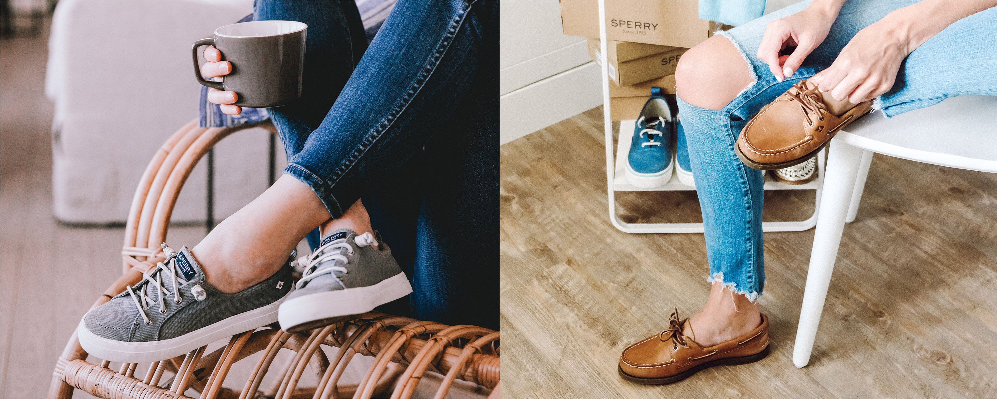 Women's legs crossed with a cup of coffee in her hands, Sperry sneakers on her feet.