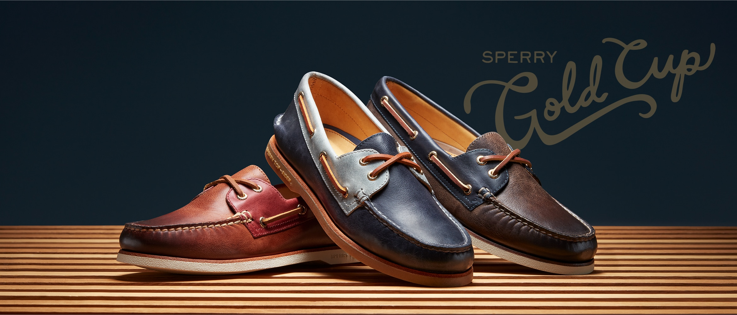 3 Authentic Orignal Shoes on a decorative wood floor.