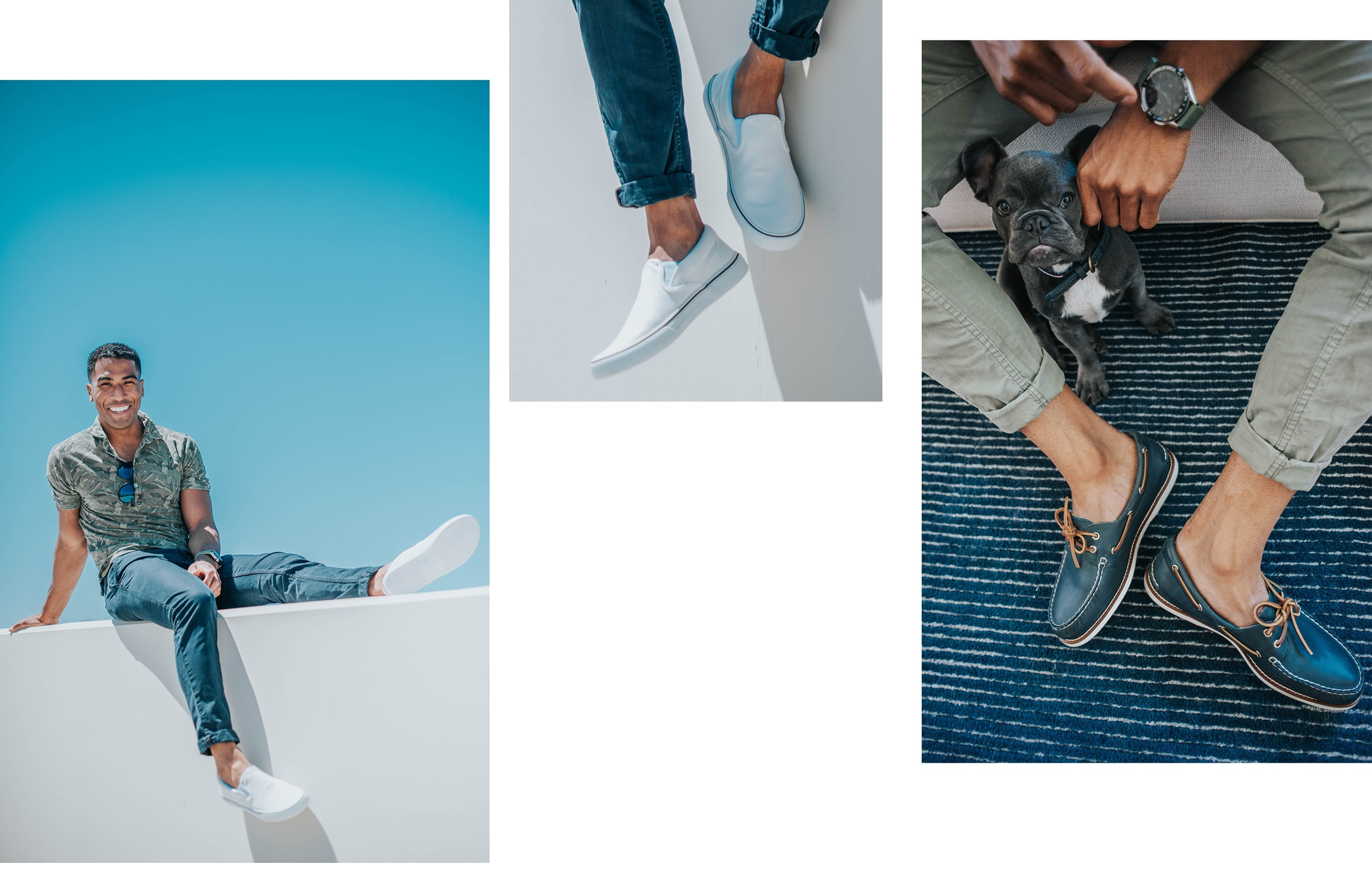 A gallery of Sperry Ambassador Josh Dixon, wearing several Sperry shoe styles.