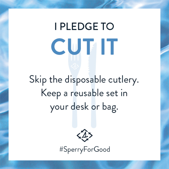 I Pledge to Cut it. Skip the disposable cutlery. Keep a resuable set in your desk or bag.