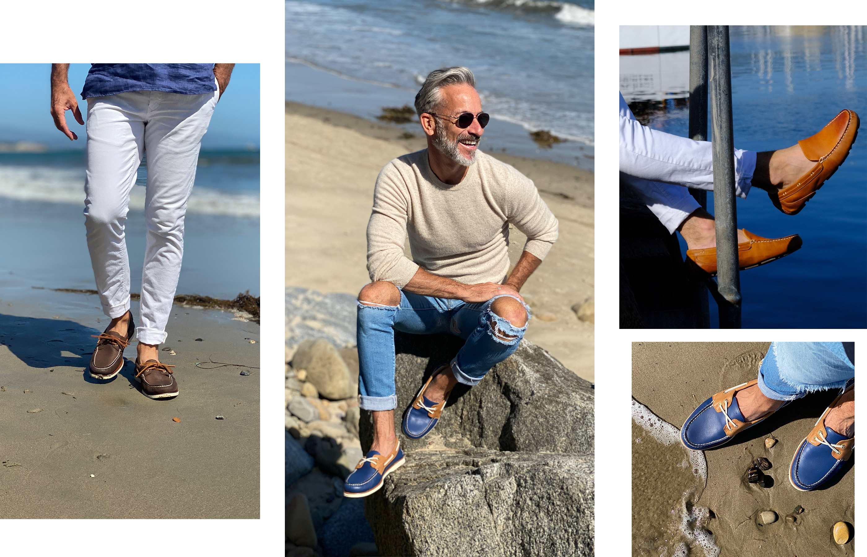 A gallery of Sperry Ambassador Garrett Swann, wearing several Sperry shoe styles.