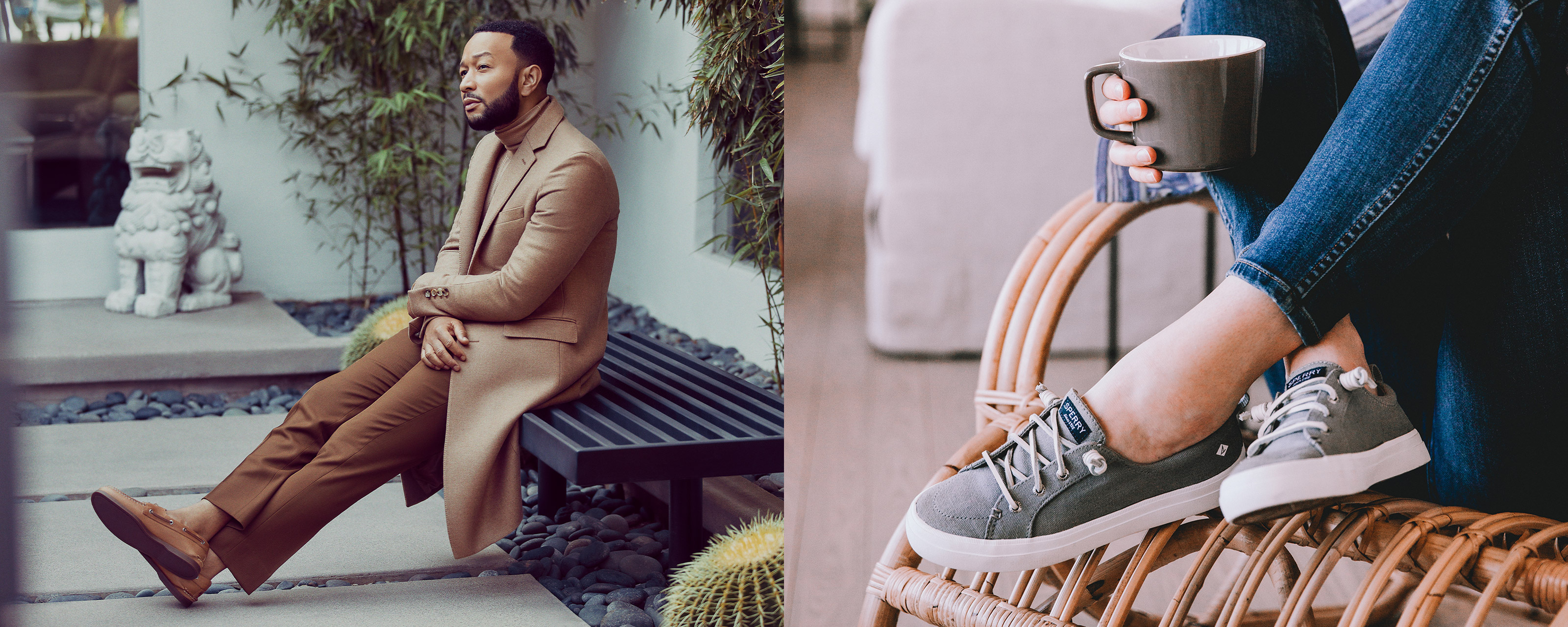 John Legend sitting on a bench with his legs crossed, wearing brown leather boat shoes.