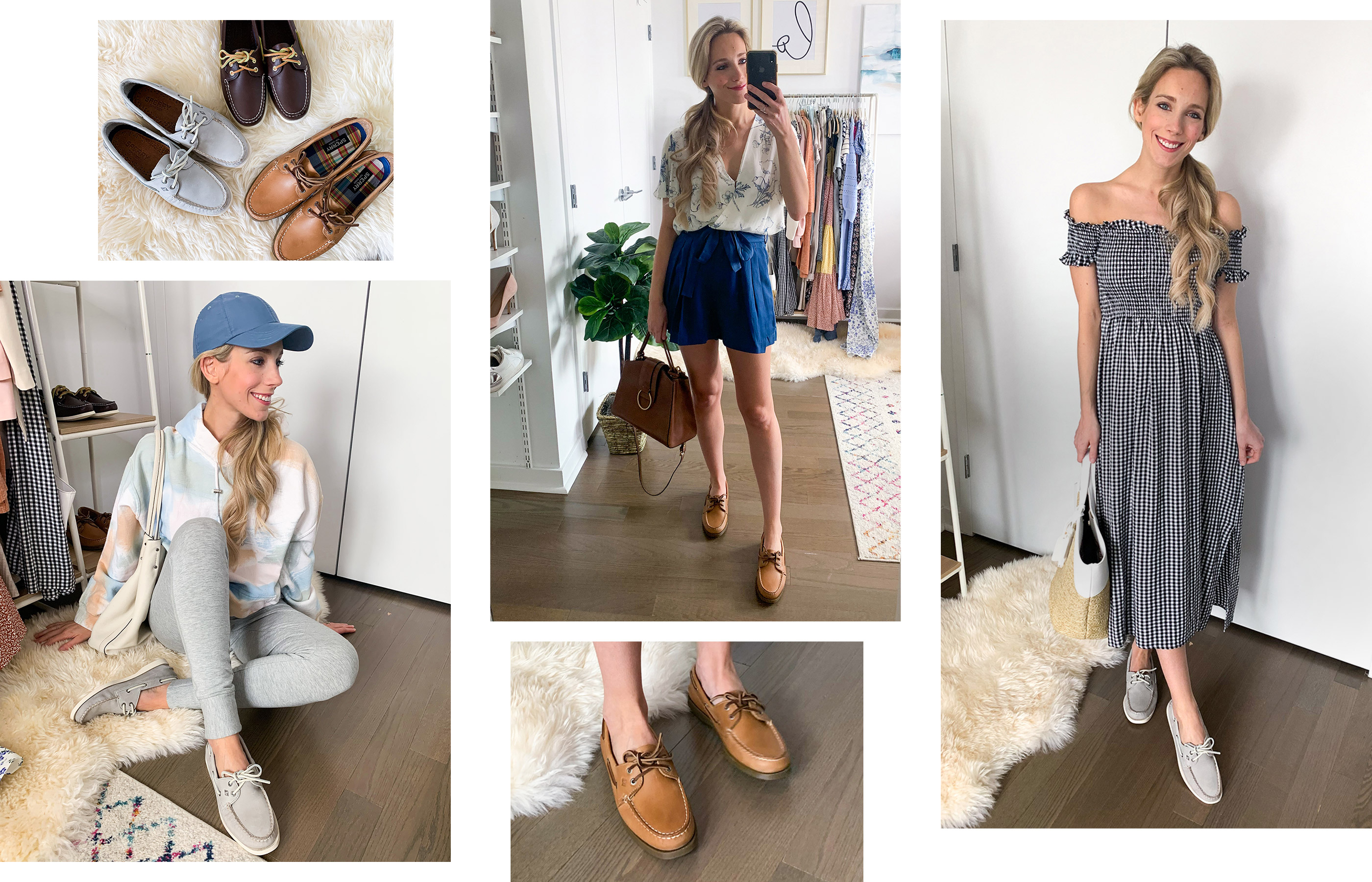 A gallery of Sperry Influencer Katie Manwaring, wearing several Sperry shoe styles.