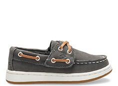 Grey & white boat shoe.