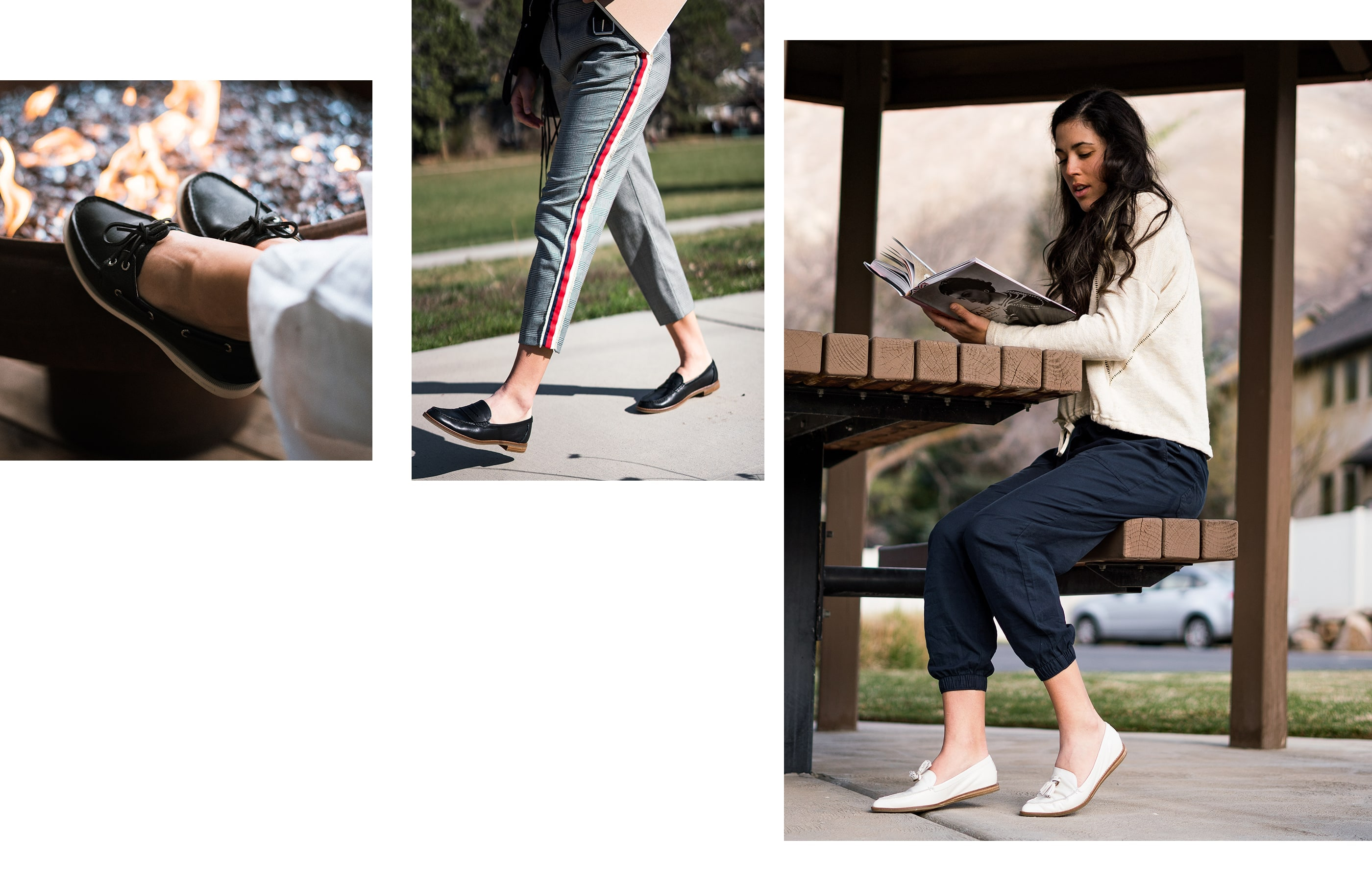 A gallery of Sperry Ambassador Bella Wright, wearing several Sperry shoe styles.