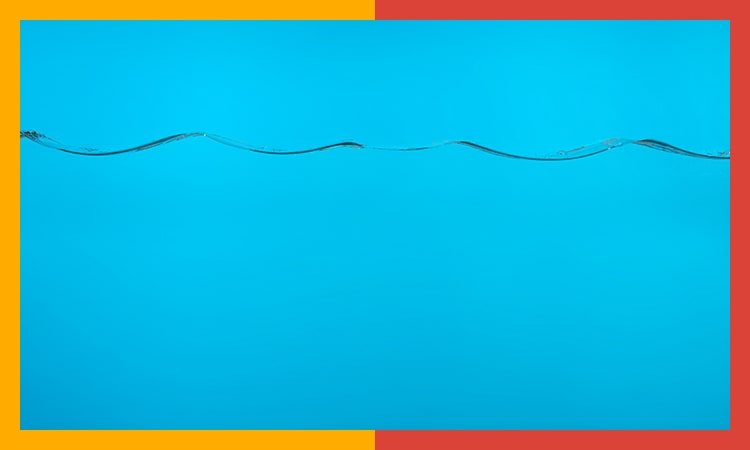 water / wave background with a colorful border.