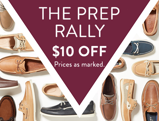The Prep Rally | Grab your back-to-school boat shoes. $10 Off!  Prices as marked.
