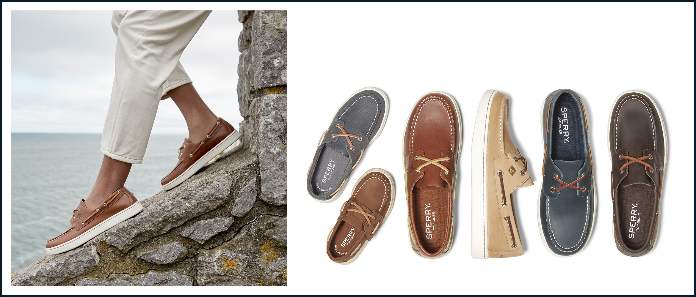 A variety of sperry cup shoes and a closeup of a mans shoes standing on a wall
