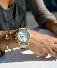 Sperry Top-Sider Women's Halyard Leather Chronograph Watch and Shackle Bangle Bracelet