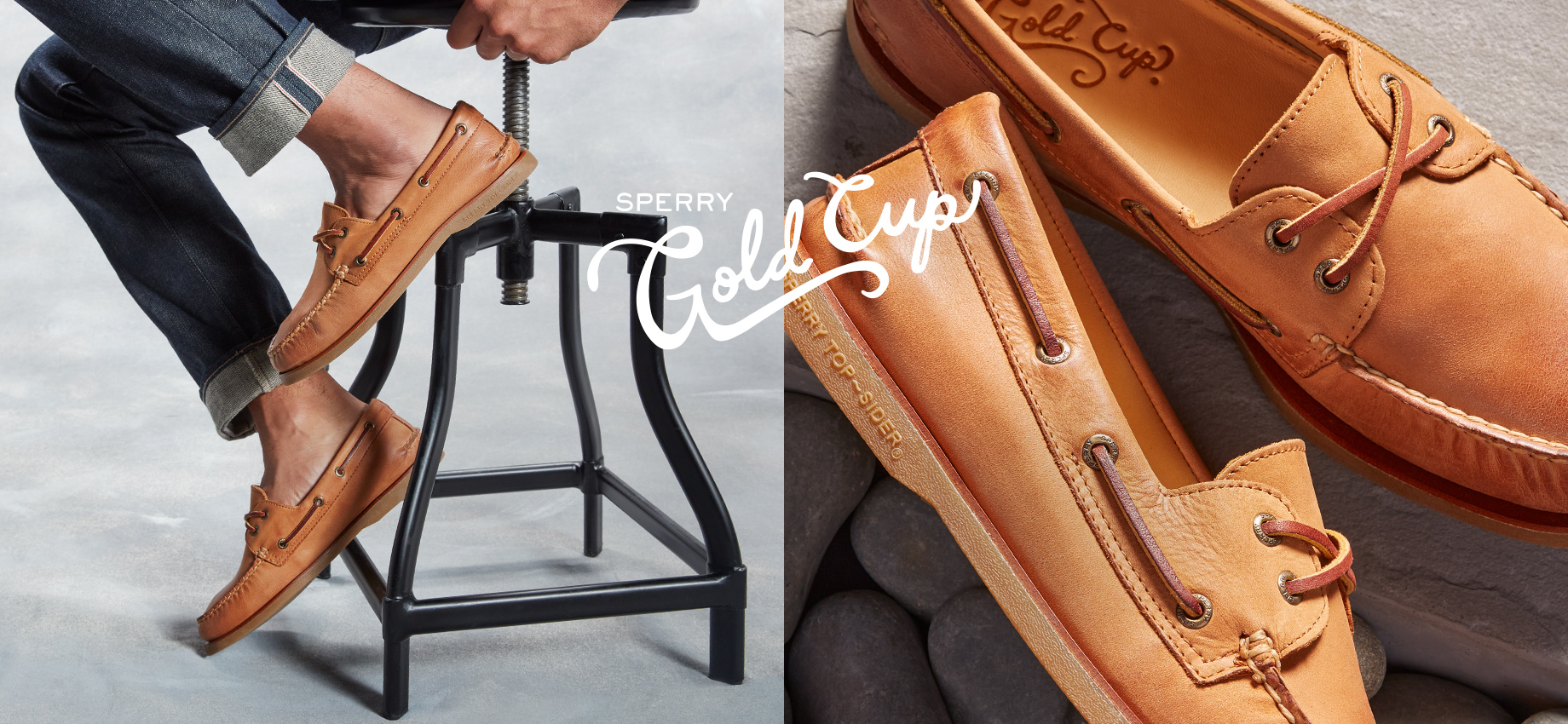Person sitting on a metal stool with boat shoes on next to an image of a closeup of a pair of boat shoes