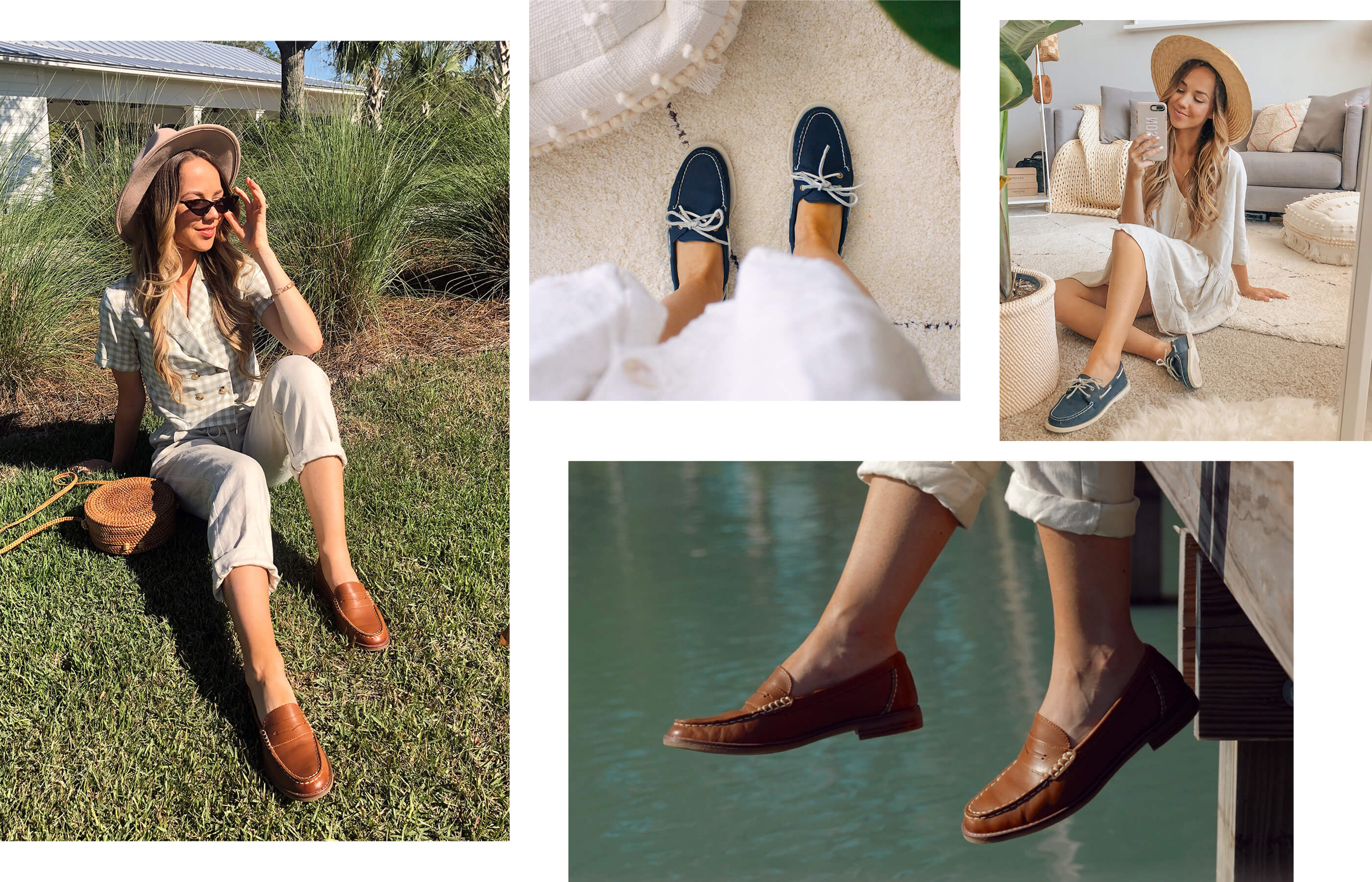 A gallery of Sperry Ambassador Allison Bickerstaff, wearing several Sperry shoe styles.