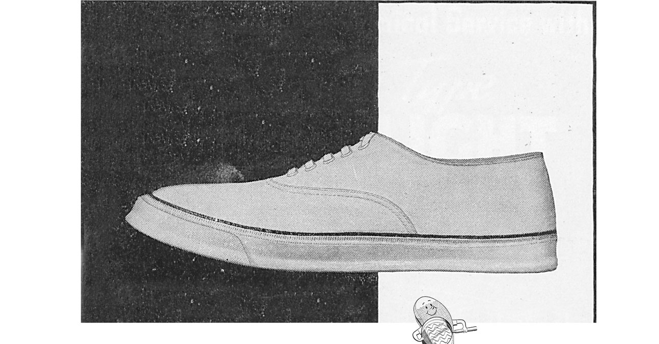 A shoe illustration showing the original Sperry prototype in black and white.