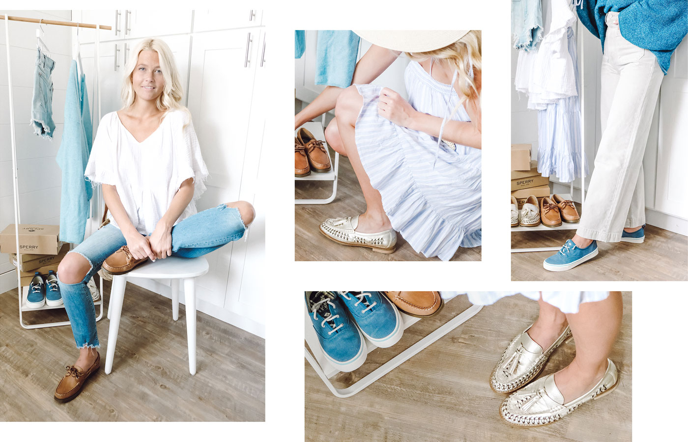 A gallery of Sperry Influencer Molly Hogan, wearing several Sperry shoe styles.