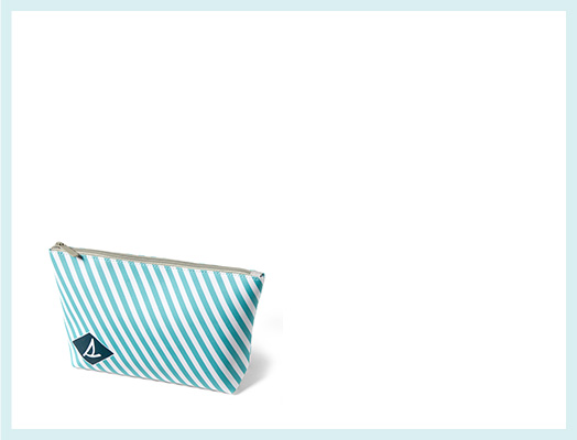 Striped, teal pouch on a white background.