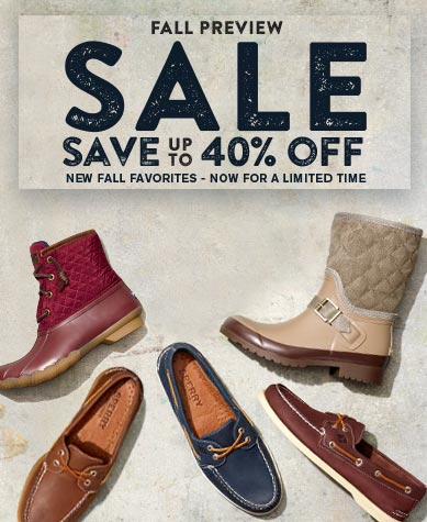 Fall preview sale. Save up to 40% off new fall favorites - now for a limited time.