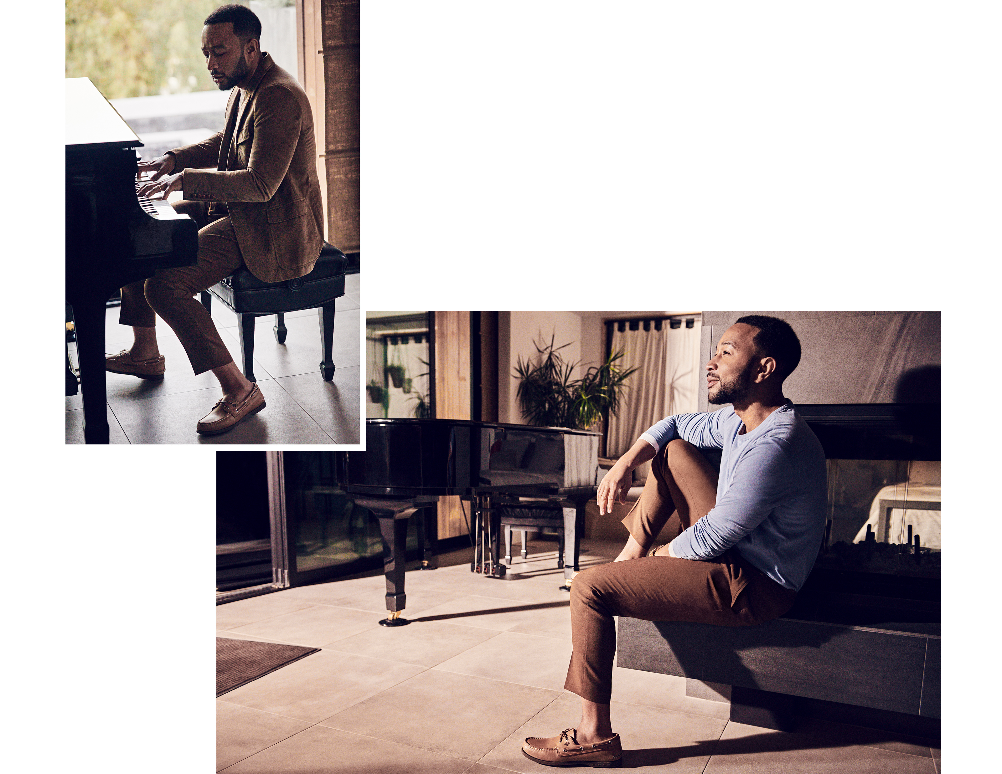 John Legend playing the piano, wearing Sperry Cloud Authentic Original Boat Shoe.