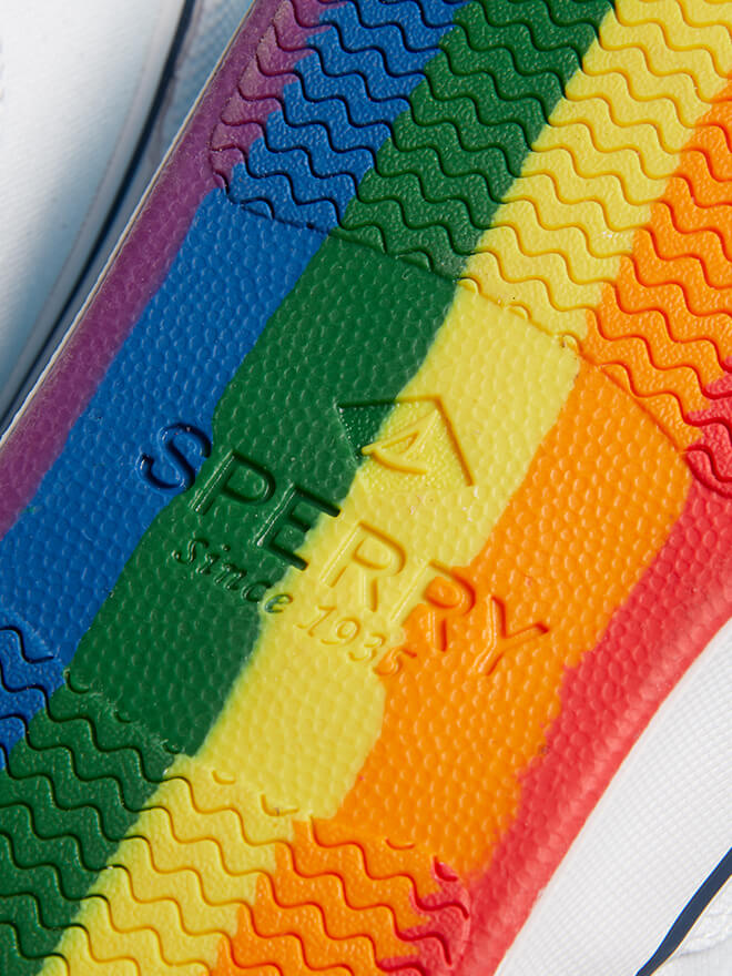 Rainbow sole of a Sperry shoe.