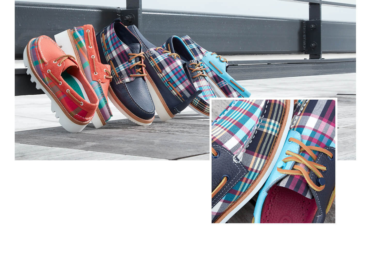 Collage of shoes from the Madras collection.