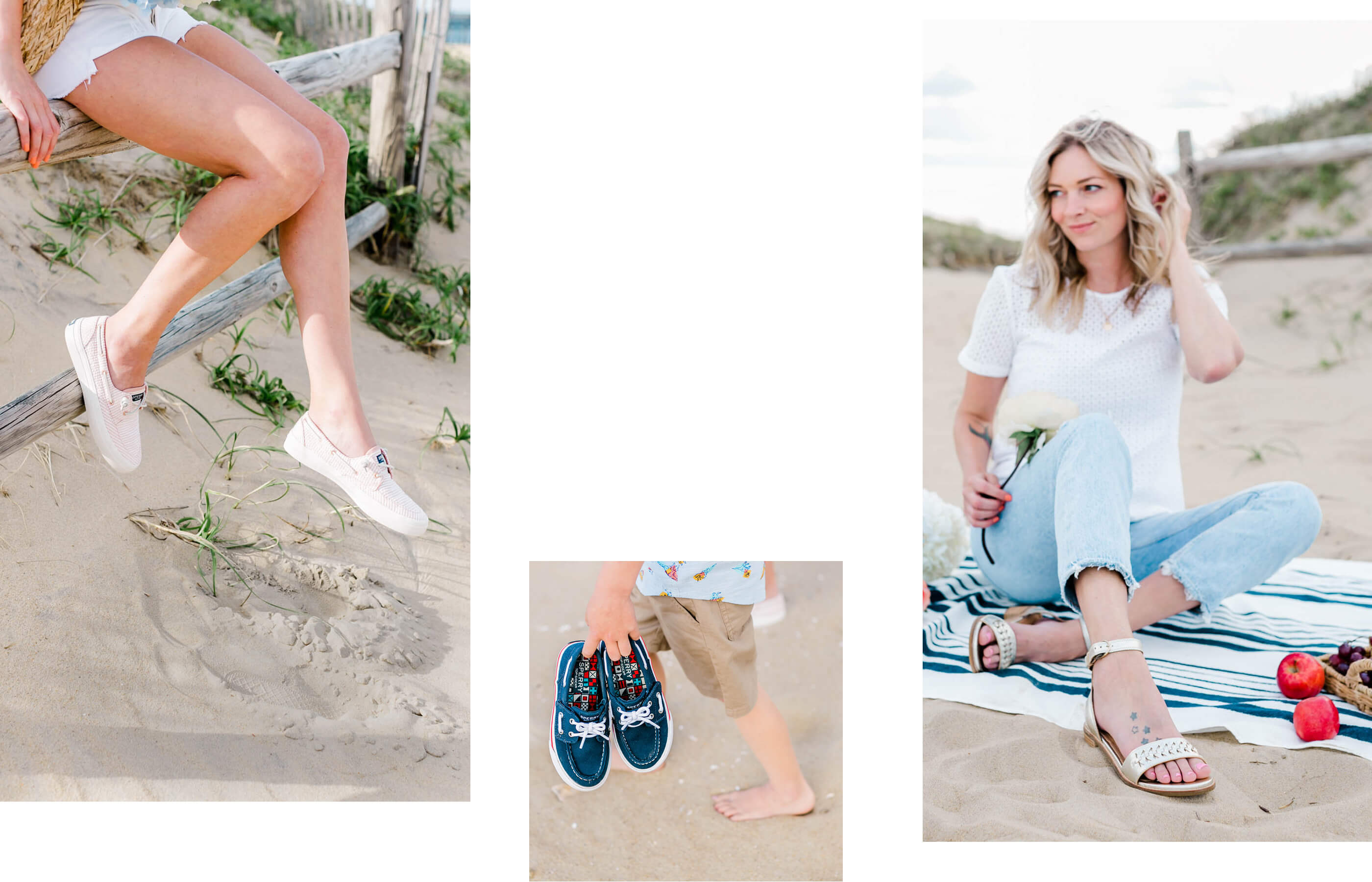 A gallery of Sperry Ambassador Michelle Marie, wearing several Sperry shoe styles.