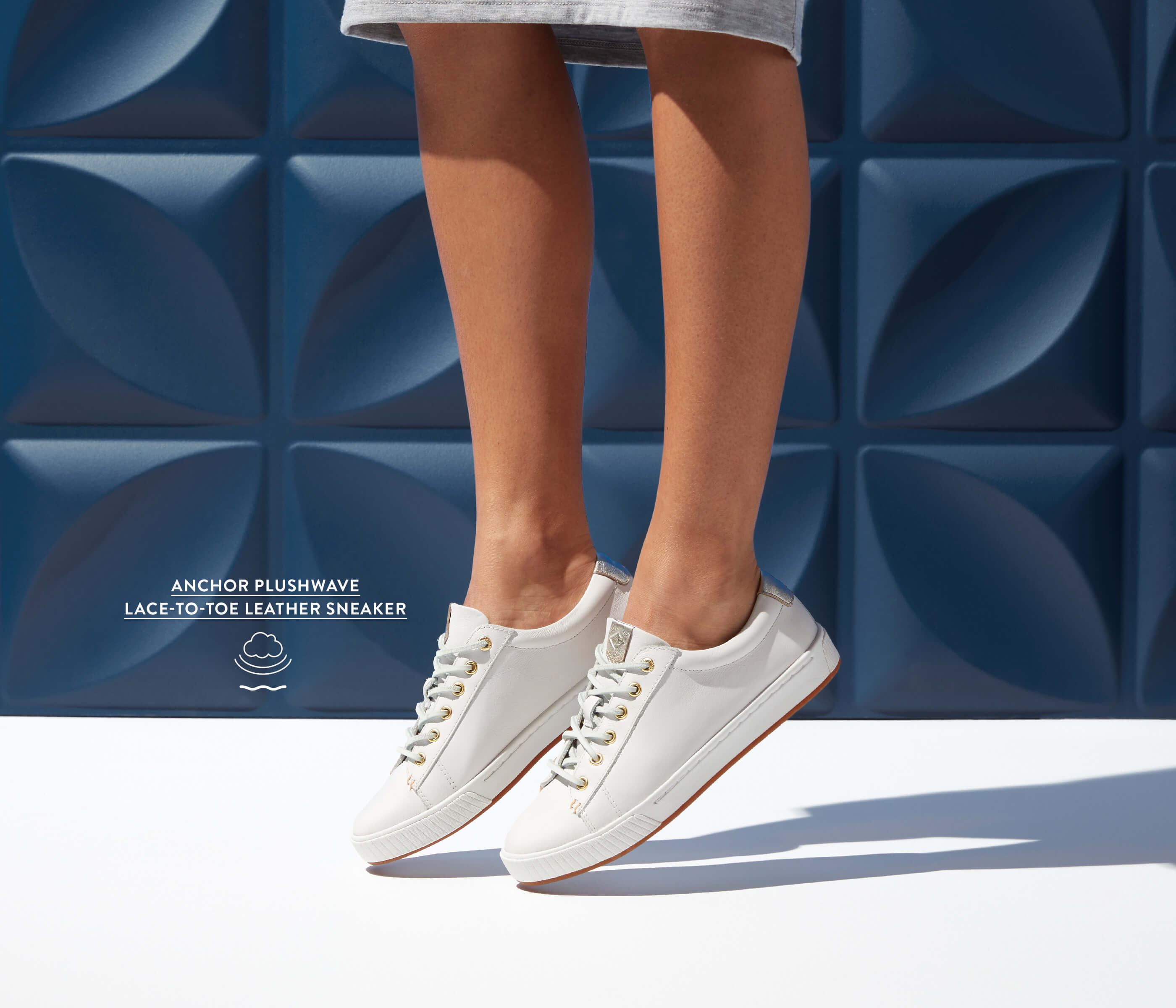 Anchor Plushwave Lace-to-Toe Leather Sneaker in white.