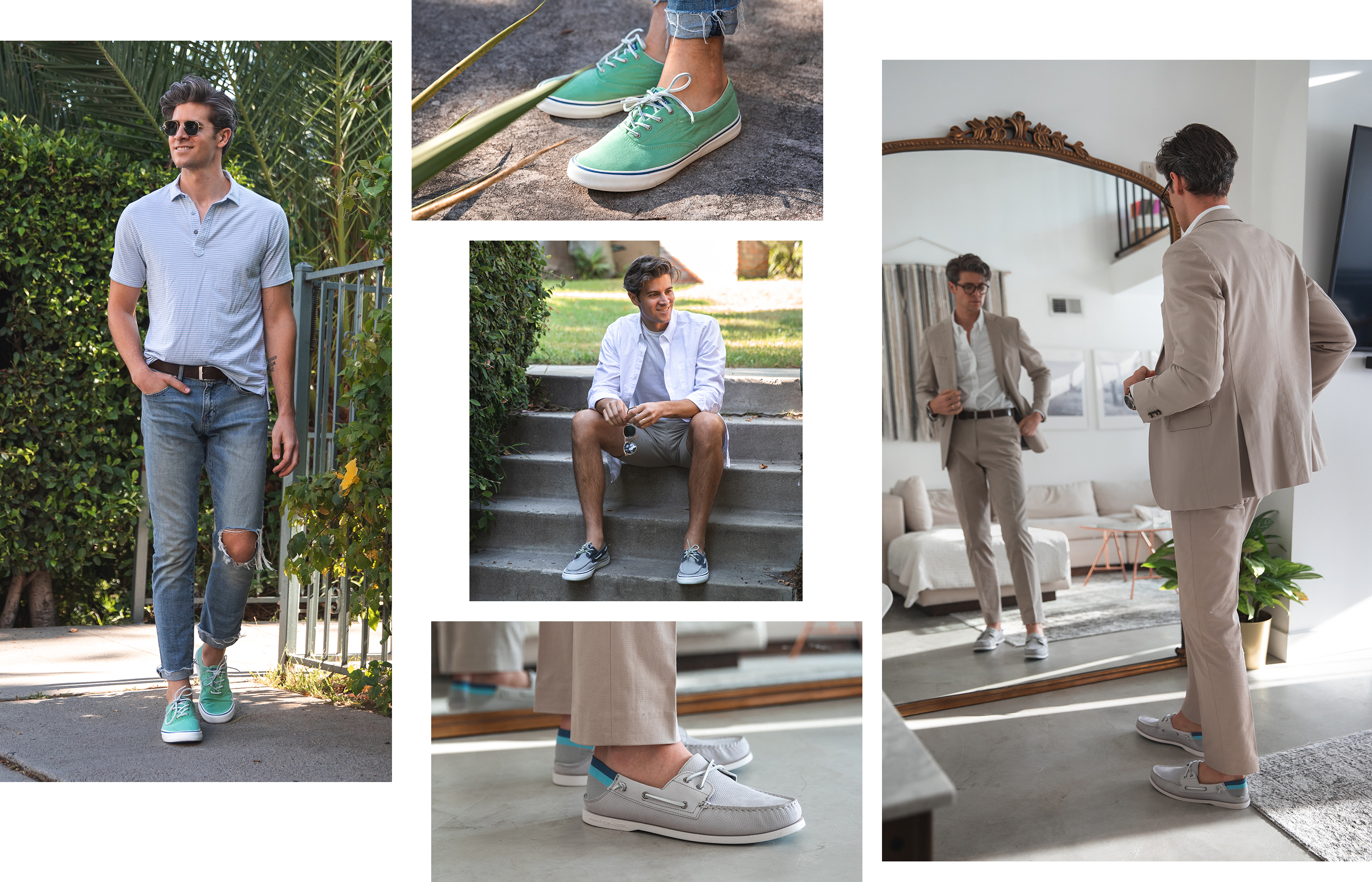 A gallery of Sperry Ambassador Parker York Smith, wearing several Sperry shoe styles.