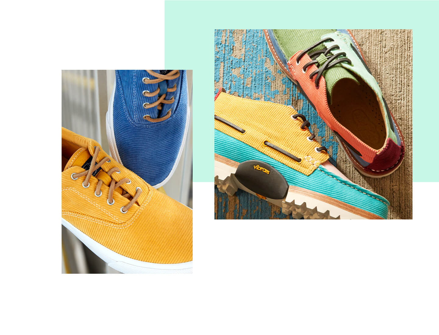 Collage of shoes from the Corduroy collection.