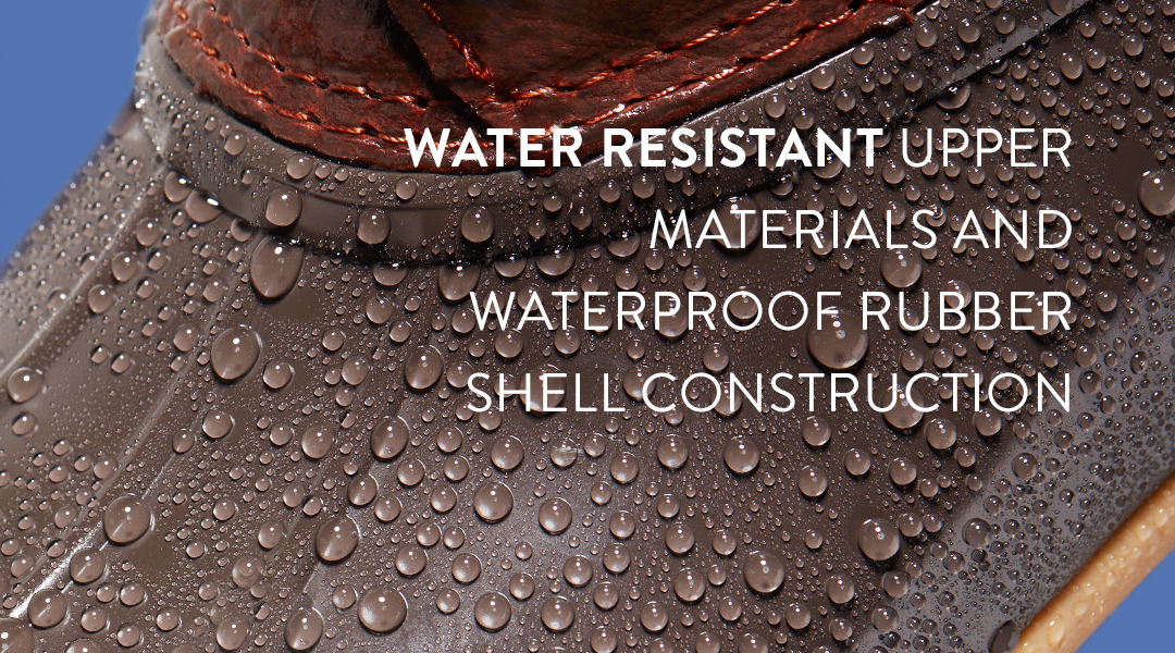 Water resistent upper materials and waterproof rubber shell construction