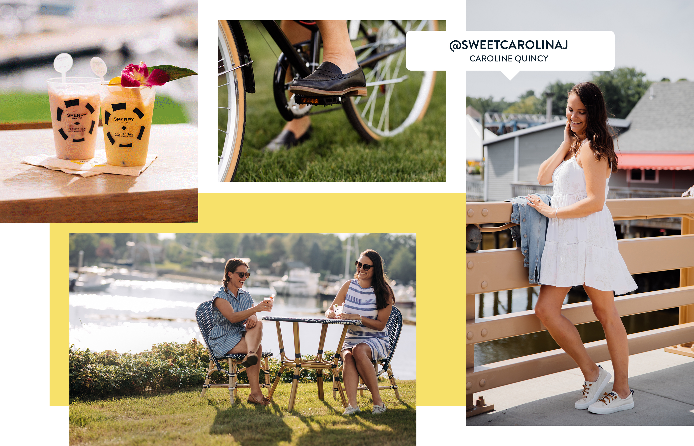 A gallery of Sperry Ambassador Caroline Quincy, wearing several Sperry shoe styles.