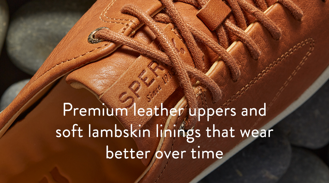 Premium leather uppers and soft lambskin linings that wear better over time.